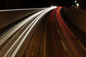 Using motion blur to show movement of cars on a highway