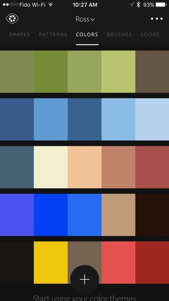 A reusable palette created with Adobe Capture (the top bar)