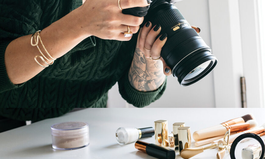 Female photographer taking photos of make-up prouducts