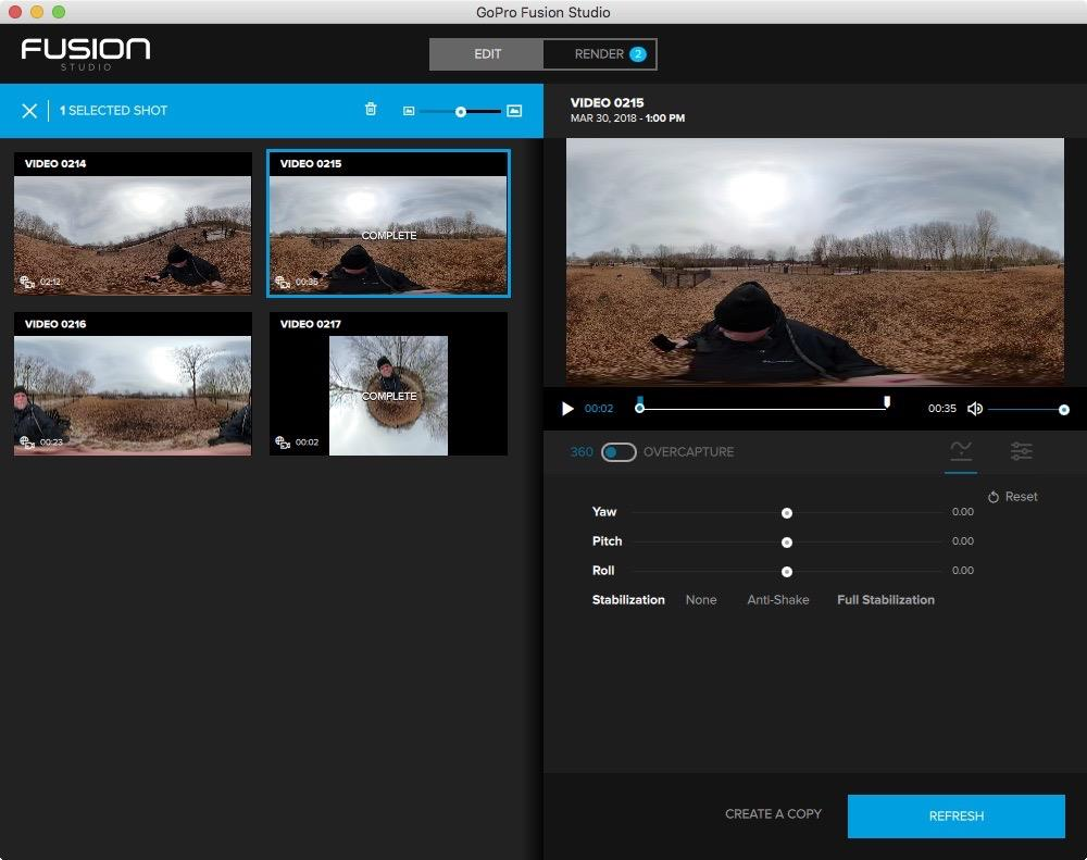 GoPro Fusion Studio Edit Window