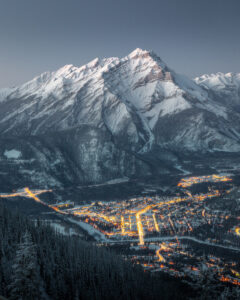 The town of Banff taken from Sulphur Mountain