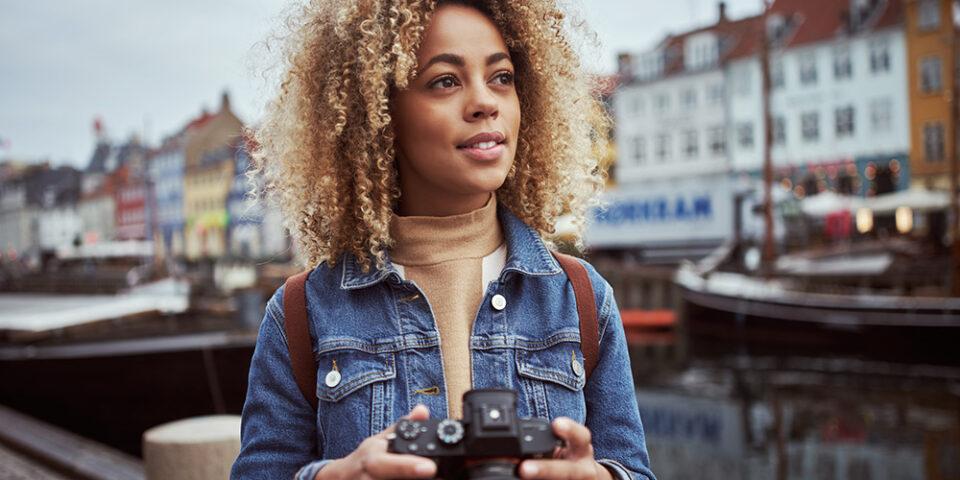 Lady holding camera