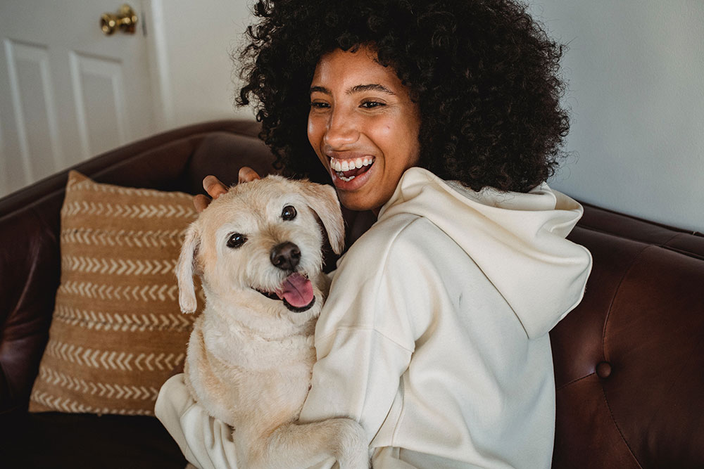 Dog with his human - portrait
